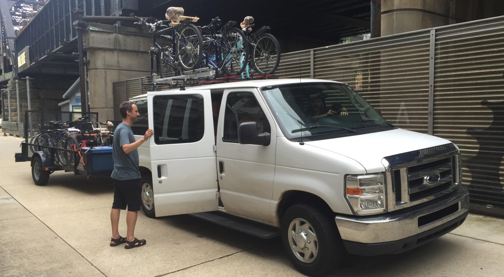 Pittsburgh PA to Washington DC bike trip shuttle service van, bicycle luggage riders